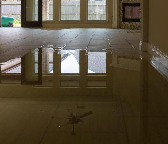 Pool of water on floor.